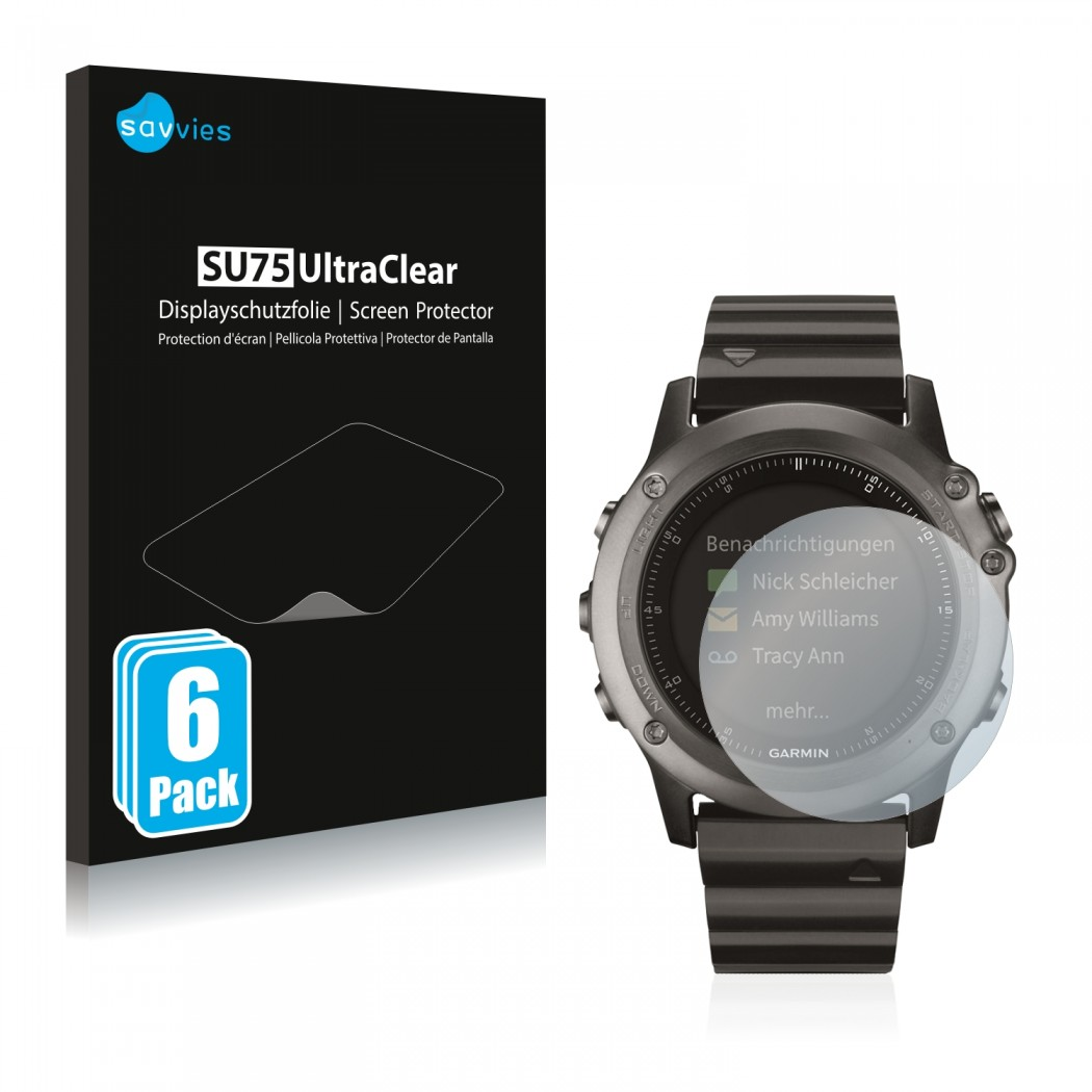 6x Savvies Su75 Screen Protector For Garmin Fenix 3