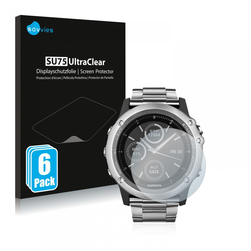 6x Savvies Su75 Screen Protector For Garmin Fenix 3 Hr