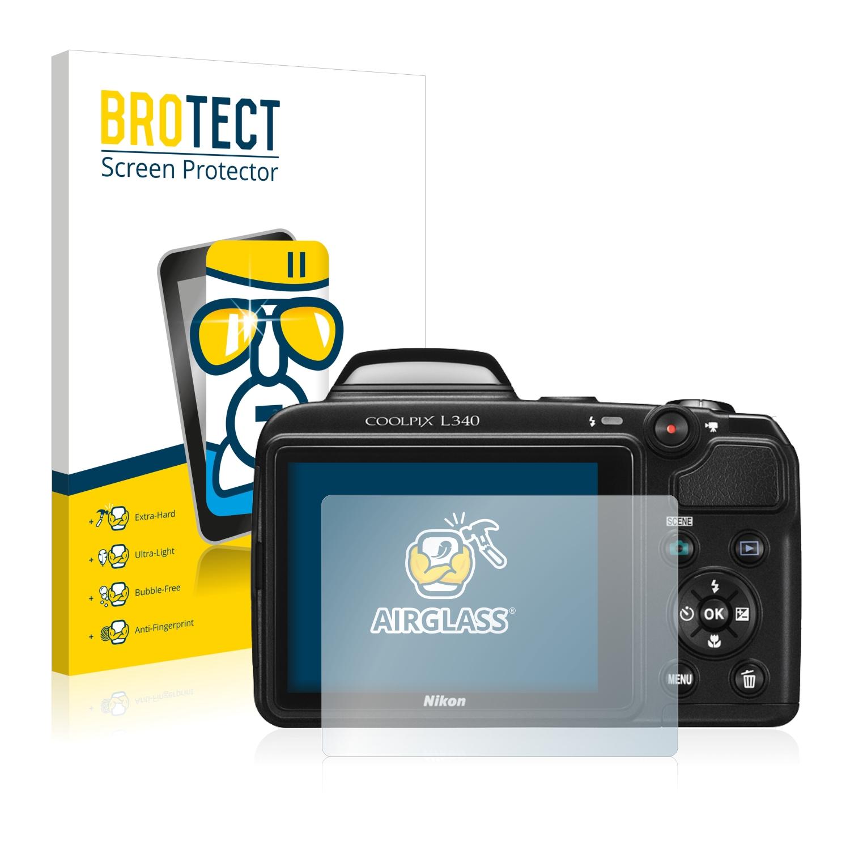 screen guard Extra-Hard BROTECT AirGlass Glass screen protector for Nikon Coolpix L340 Ultra-Light