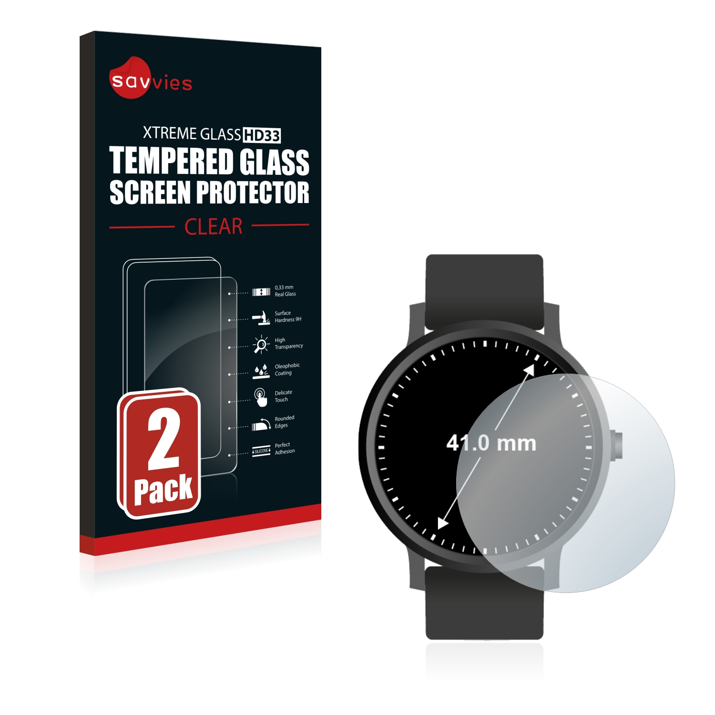 2x Savvies HD33 čiré tvrzené sklo pro hodinky (kulatý, průměr: 41 mm)