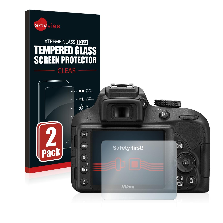 2x Savvies HD33 čiré tvrzené sklo pro Nikon D3300