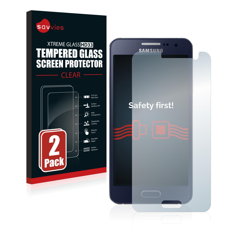 2x Savvies HD33 čiré tvrzené sklo pro Samsung Galaxy A3 2015