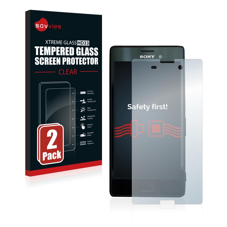 2x Savvies HD33 čiré tvrzené sklo pro Sony Xperia M4 Aqua