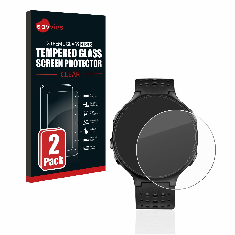 2x Savvies HD33 čiré tvrzené sklo pro Garmin Forerunner 235