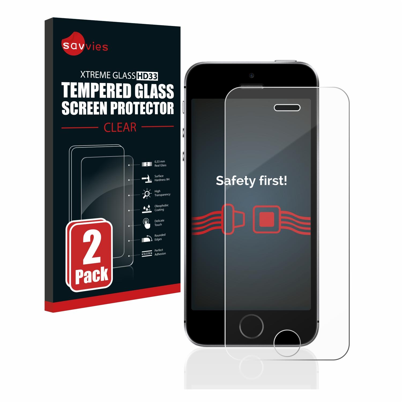 2x Savvies HD33 čiré tvrzené sklo pro Apple iPhone SE 2016