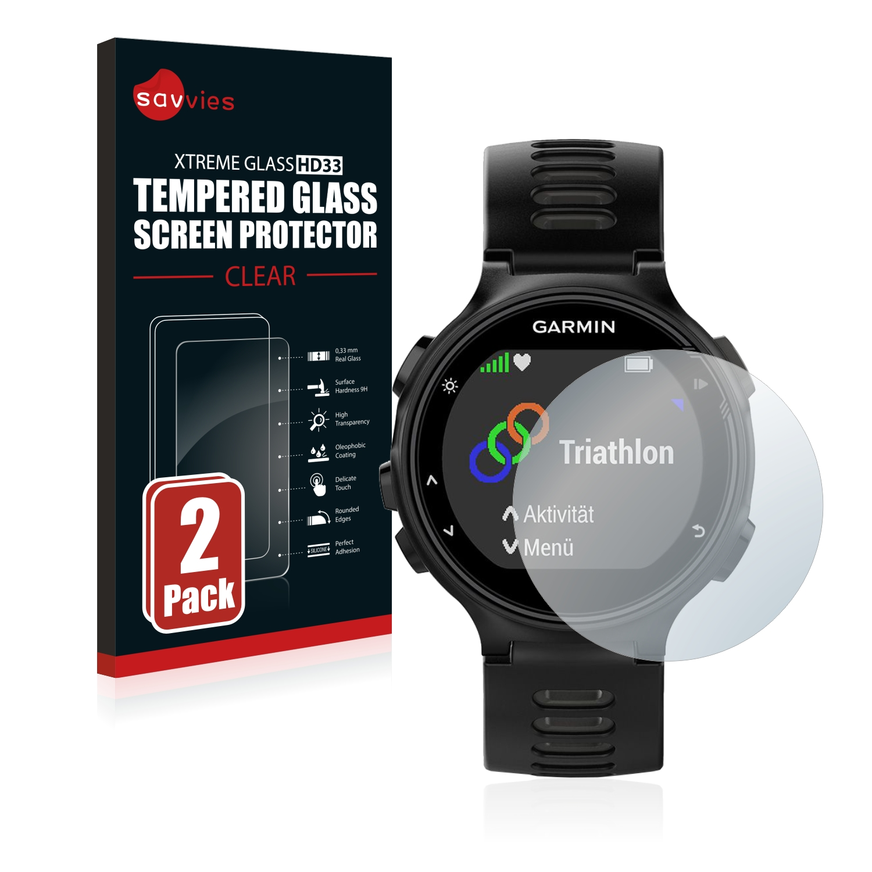 2x Savvies HD33 čiré tvrzené sklo pro Garmin Forerunner 735XT