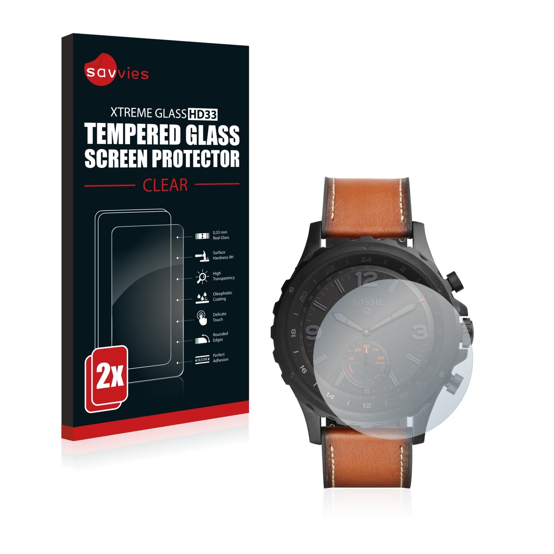 2x Savvies HD33 čiré tvrzené sklo pro Fossil Q Nate