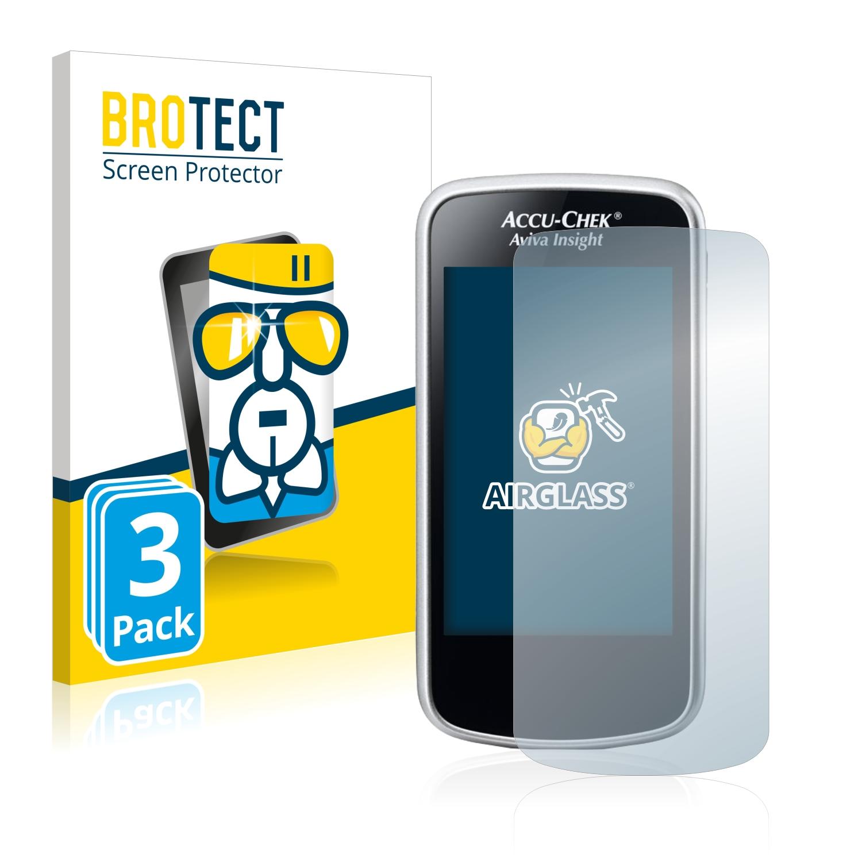 3x BROTECT AirGlass čirá skleněná fólie pro Accu-Chek Aviva Insight Diabetes Manager