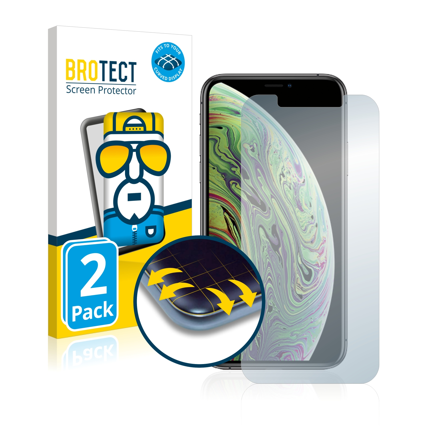 Ochranná fólie BROTECT Flex Full-Cover pro Apple iPhone Xs, 2ks