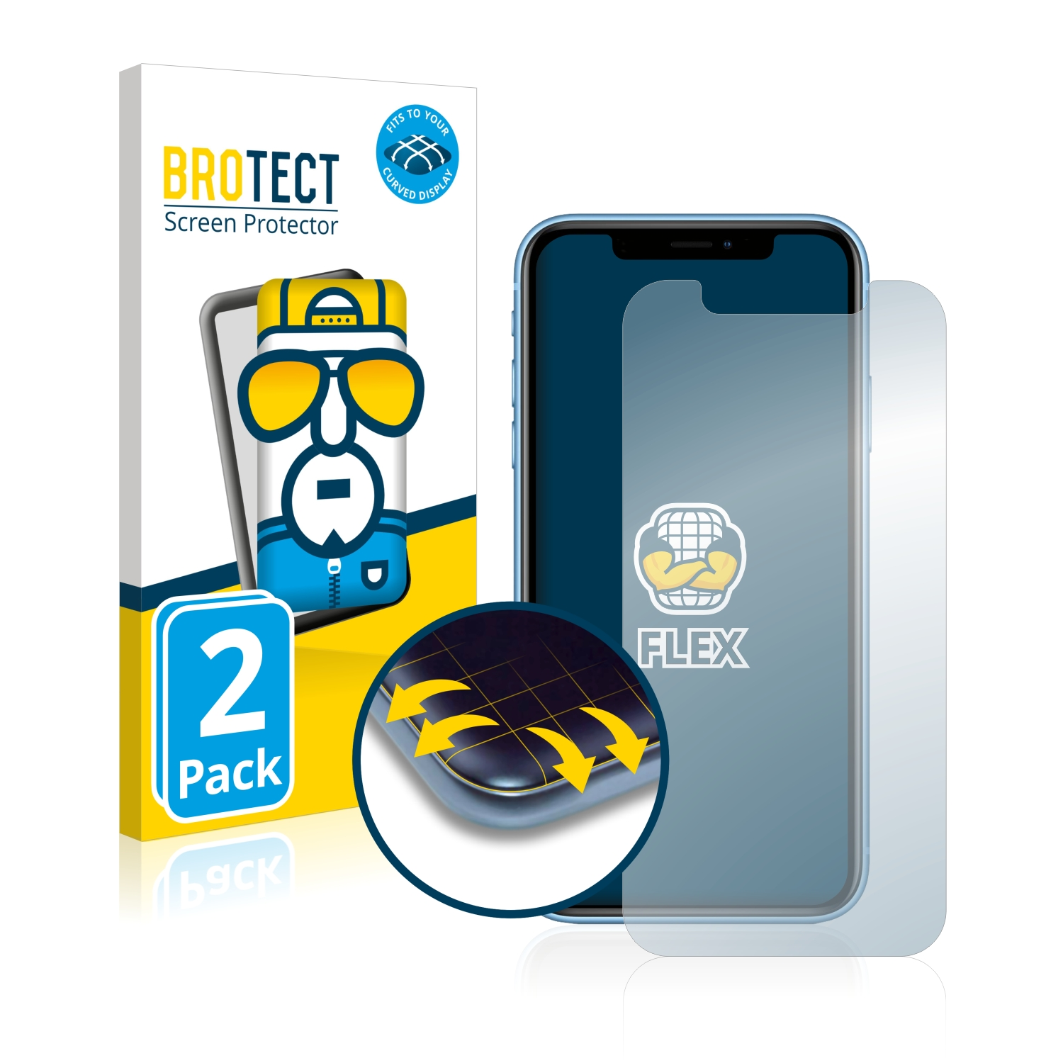 Ochranná fólie BROTECT Flex Full-Cover pro Apple iPhone XR, 2ks